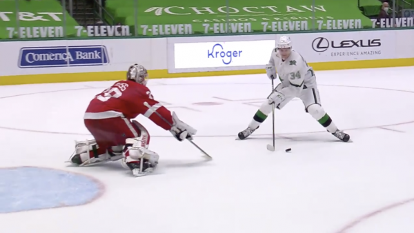 Hintz has goal, assist for Stars in shootout victory against Red Wings