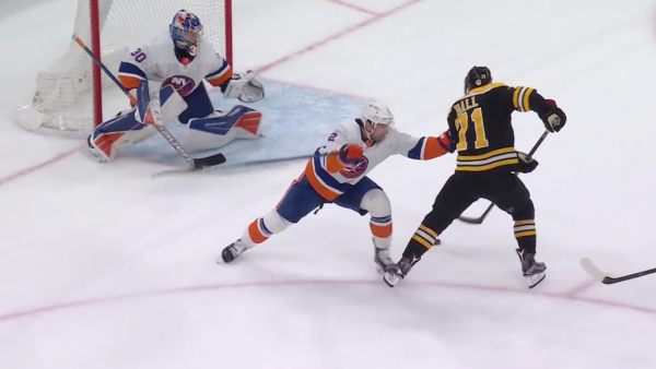 Bruins secure third in East with OT win against Islanders